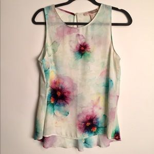 Watercolor adorable tank top blouse EUC M
